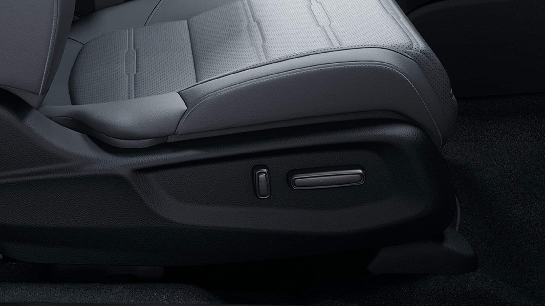 Power-adjustable front passenger seat detail in the 2020 Honda CR-V.