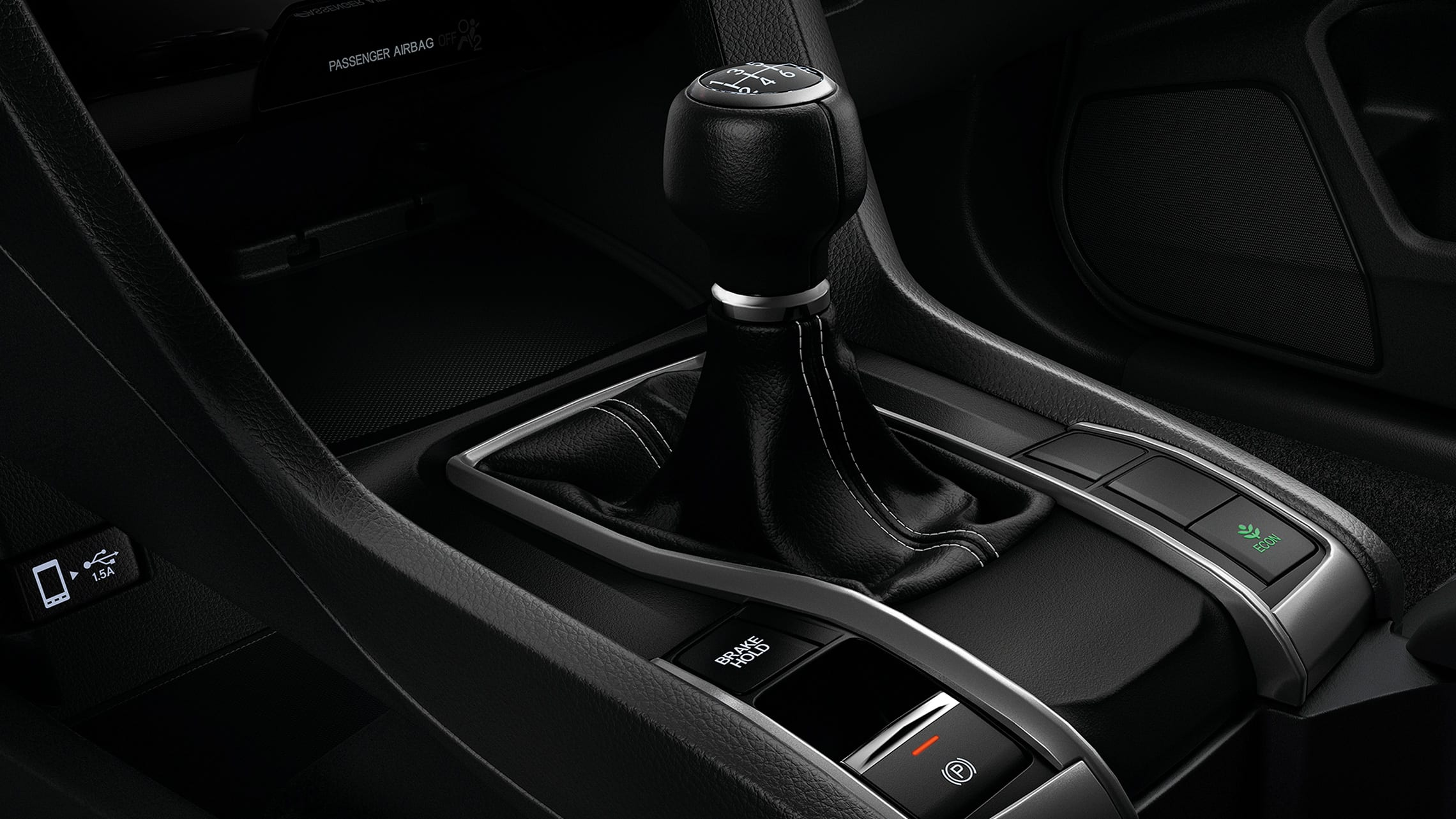 6-speed manual transmission shifter detail in 2020 Honda Civic Sport Hatchback.