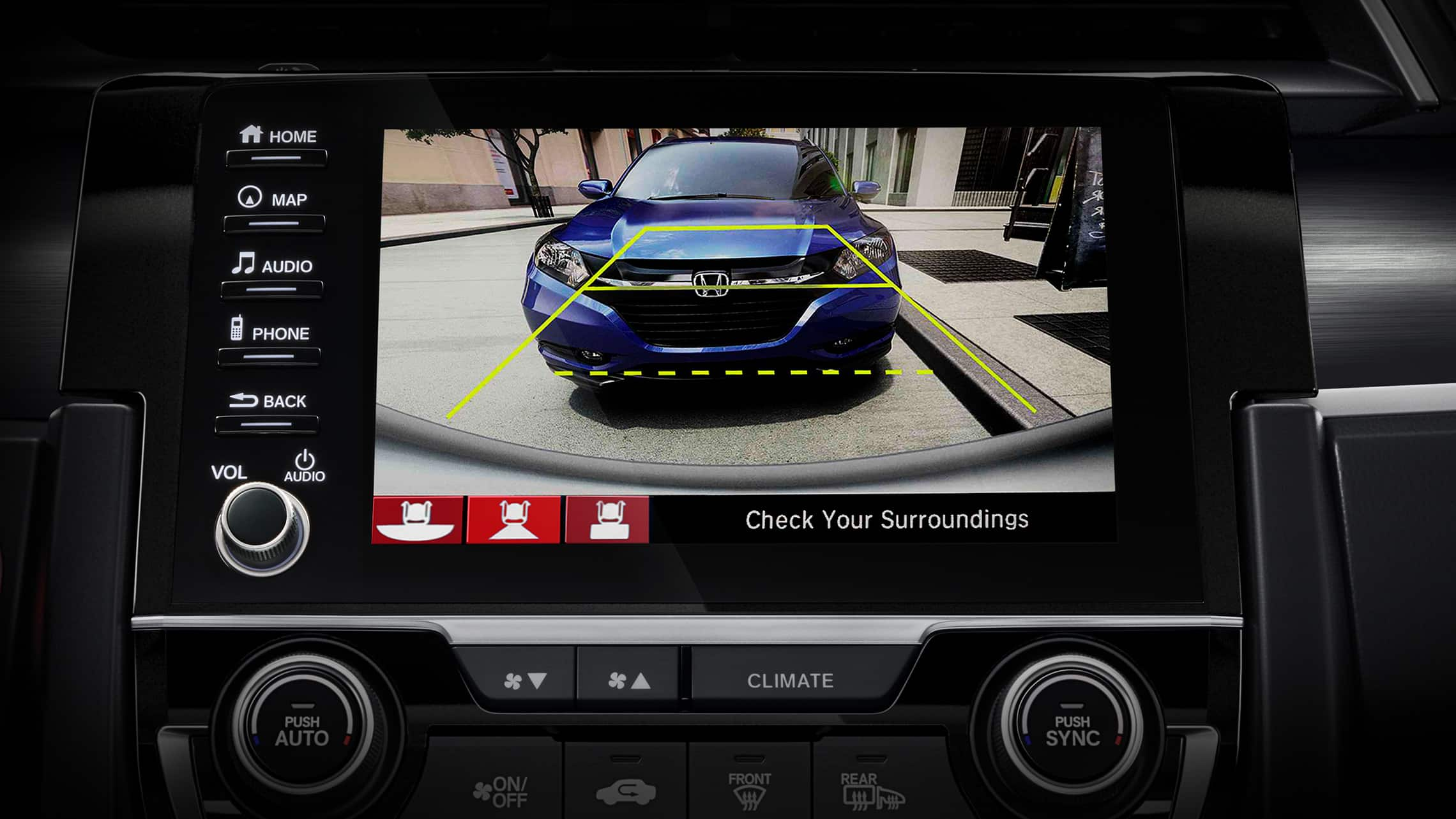 Multi-angle rearview camera screen detail on Display Audio touch-screen in 2020 Honda Civic Sport Touring Hatchback.