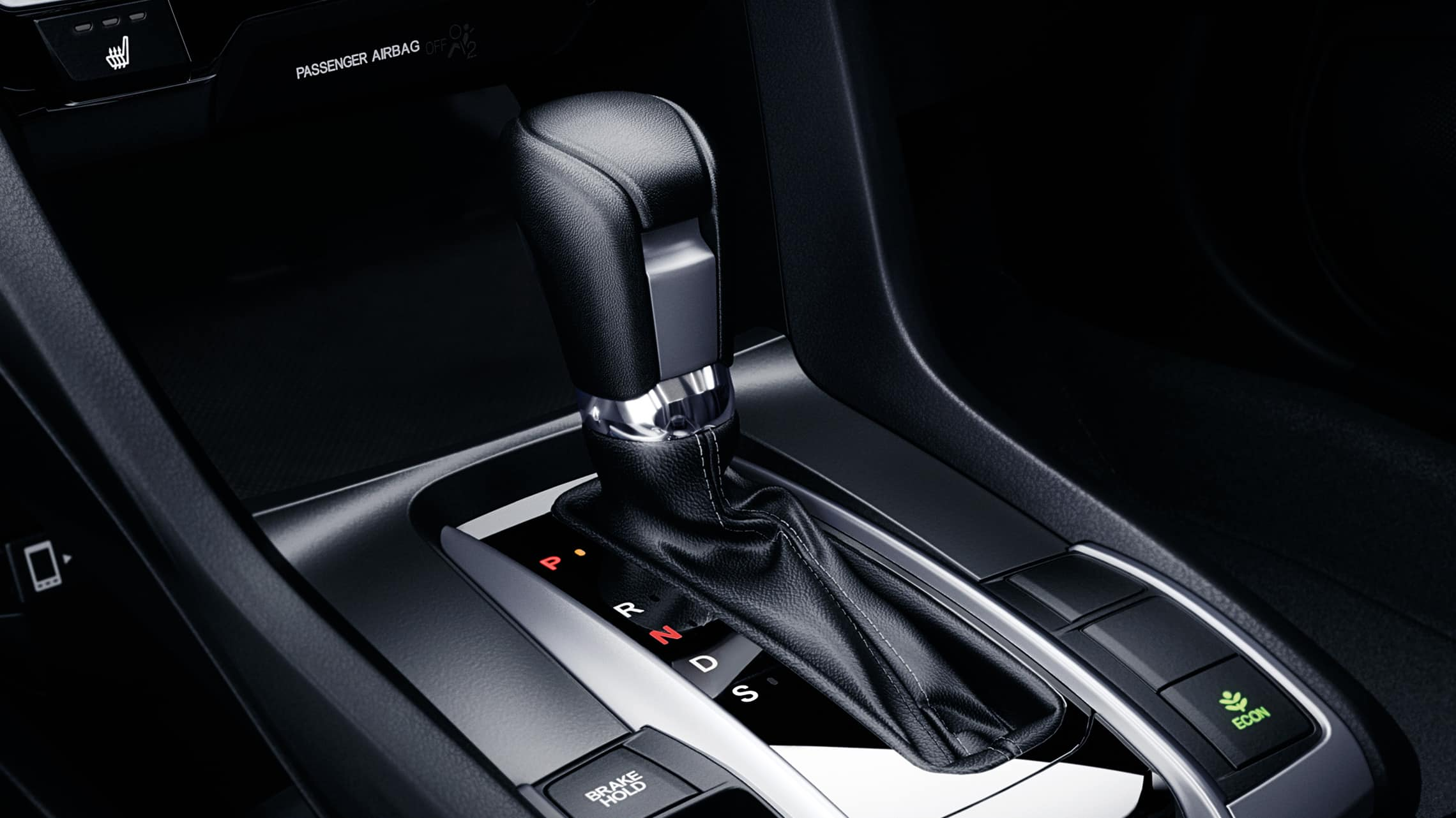 CVT transmission shifter detail in the 2021 Honda Civic Touring Sedan, shown with Black Leather.