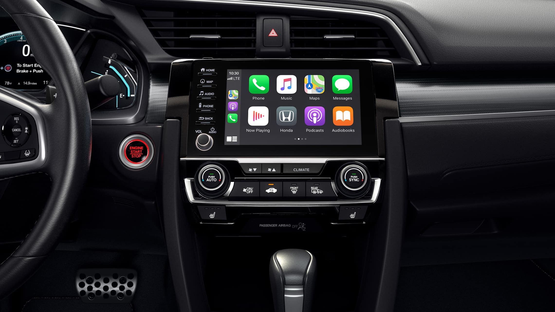 Apple CarPlay® detail on Display Audio touch-screen in the 2021 Honda Civic Touring Sedan.
